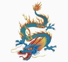 Blue-yellow Oriental Dragon by Smaragdas