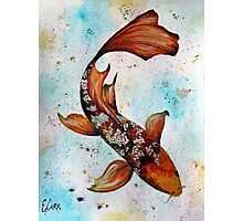 Butterfly Koi Gouache Painting Photographic Print
