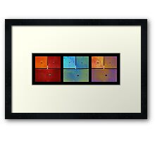 Triptych Red Cyan Purple - Colorful Rust Framed Print
