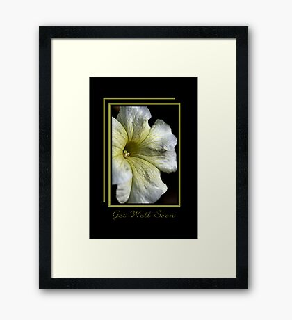 Get Well Soon - White and Green Flower Framed Print