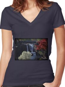 Great Falls Spring Foliage Women's Fitted V-Neck T-Shirt