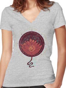 Red Lotus Women's Fitted V-Neck T-Shirt