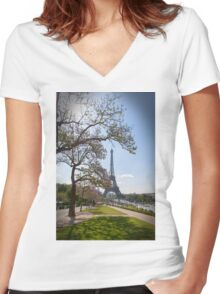 Spring In Paris Women's Fitted V-Neck T-Shirt