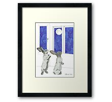 Daily Doodle 4-SPACE- Rabbit Moon Framed Print