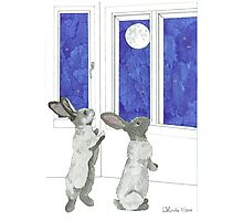 Daily Doodle 4-SPACE- Rabbit Moon Photographic Print