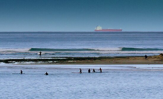 Surfers waiting by Julie Sleeman