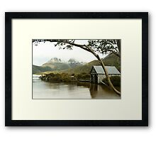Dove Lake Boathouse and Cradle Mountain Framed Print