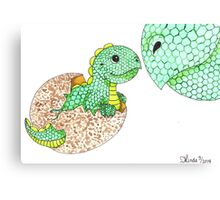 Daily Doodle 7 - Dino Love Canvas Print