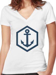 Hexagon Women's Fitted V-Neck T-Shirt