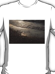 Golden Foam and Pebbles - Early Light at the Breakwater T-Shirt