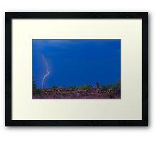 Lightning Bolt Strike in The Desert Framed Print