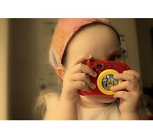 Girl with toy camera Photographic Print