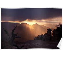 Wind and Sleet at Sunrise, Grand Canyon Poster