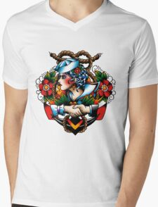 Navy Pinup Mens V-Neck T-Shirt