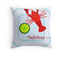 lobster on plate Throw Pillow