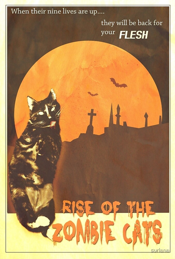 Zombie Cat Poster by surlana