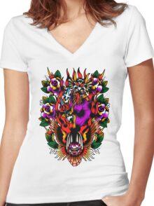 In Devil We Trust Women's Fitted V-Neck T-Shirt