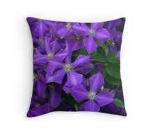Jackmanii Clematis Throw Pillow