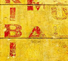 Red Letters on a Yellow Wall by Ethna Gillespie