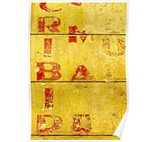 Red Letters on a Yellow Wall Poster