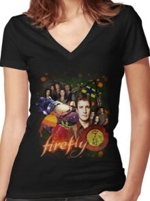 Firefly Cast Collage Women's Fitted V-Neck T-Shirt