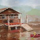 Star boatshed - Canoeing on the Woronora river by Tash  Luedi Art