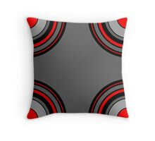 Circle Repeat Pattern Red Black and Grey  Throw Pillow