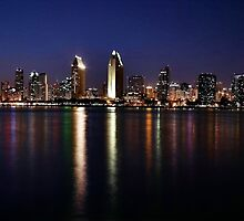 San Diego Skyline at Night by Barbara  Brown