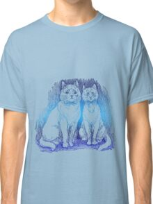 Confused Cats in Blue Classic T-Shirt