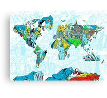 World Map landmarks 5 Canvas Print