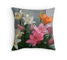 Assorted Lilies Throw Pillow