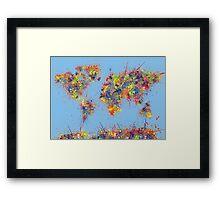 World Map brush strokes Framed Print