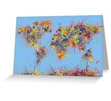 World Map brush strokes Greeting Card