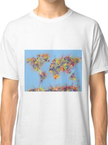World Map brush strokes Classic T-Shirt