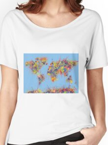 World Map brush strokes Women's Relaxed Fit T-Shirt