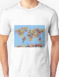 World Map brush strokes T-Shirt