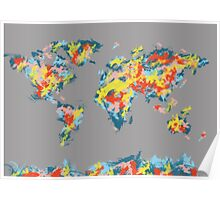 world map brush strokes 2 Poster