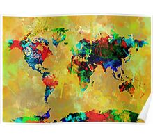 World Map watercolor 5 Poster