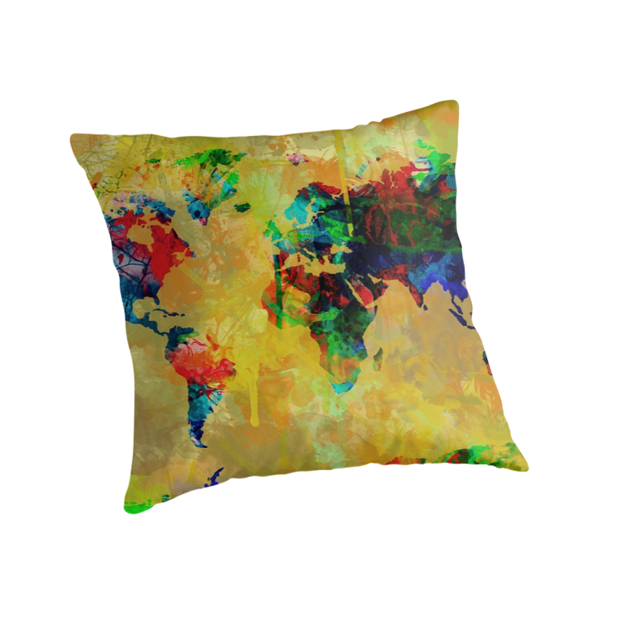 Throw Pillows With World Map :