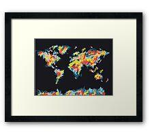 world map brush strokes 3 Framed Print