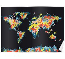world map brush strokes 3 Poster