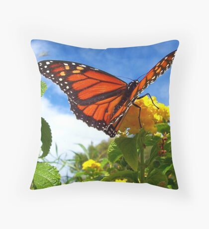 Lantana Butterfly Throw Pillow