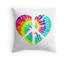Tie Dye Peace Heart  Throw Pillow
