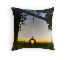 Tire swing for one at sunset HDR Throw Pillow