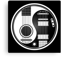 White and Black Acoustic Electric Guitars Yin Yang Canvas Print