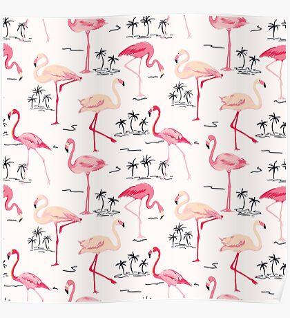 Flamingo Bird Retro Background Poster