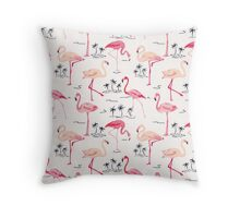 Flamingo Bird Retro Background Throw Pillow
