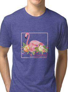 Flamingo Bird Tropical Island Design Tri-blend T-Shirt
