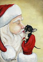 Santa's Kiss for Chihuahua Puppy by Charlotte Yealey