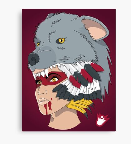 Native American Wolf Headdress Canvas Print